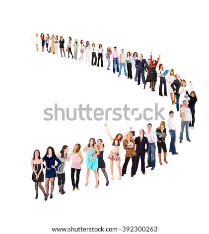 Together we Stand Big Group  - stock photo