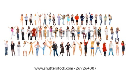 Together we Stand Teams over White  - stock photo
