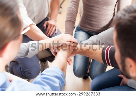 Togetherness, Human Hand, Assistance. - stock photo