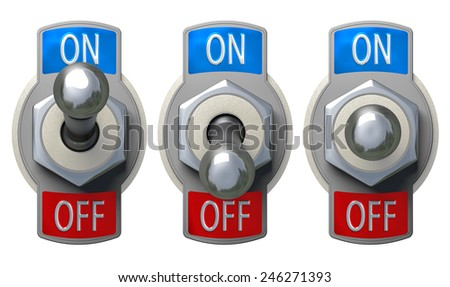 Toggle Switch set with clipping path - stock photo