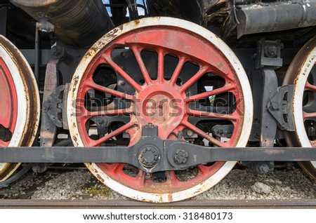 Togliatti, RUSIA - drive wheels of a steam engine locomotive - stock photo