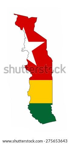 togo country flag map shape national symbol - stock photo