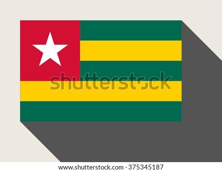 Togo flag in flat web design style. - stock photo