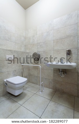 Toilet adapted for people with disabilities, vertical - stock photo