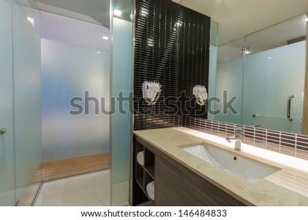 toilet and bathroom in hotel. - stock photo