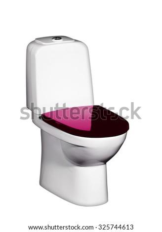 Toilet bowl isolated on white - stock photo
