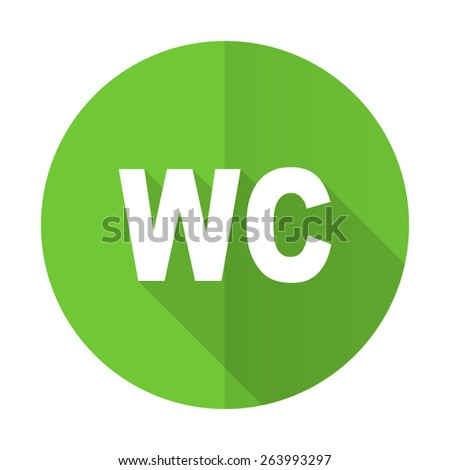 toilet green flat icon wc sign