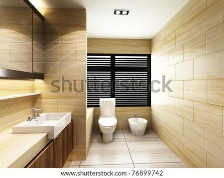 Toilet in Bathroom - stock photo