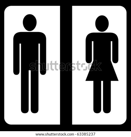 Toilet male and female sign - stock photo