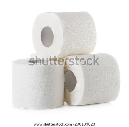 toilet paper close-up isolated on white background - stock photo