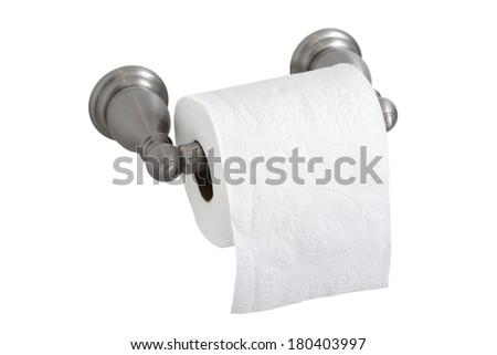 toilet paper in holder - stock photo