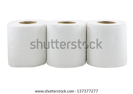 Toilet paper isolated on a white background with clipping path - stock photo
