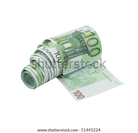 Toilet paper made from one hundred euro banknotes, isolated on a white background - stock photo