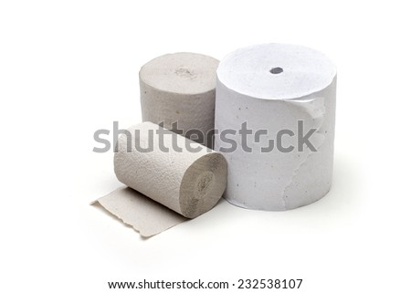 toilet paper on the white background - stock photo