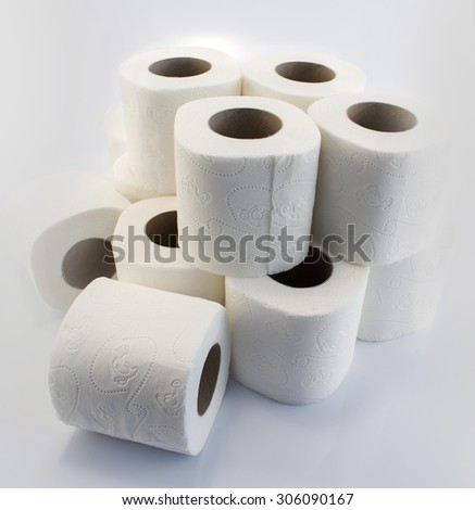 Toilet paper rolls isolated on white. - stock photo