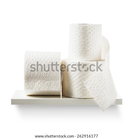Toilet paper rolls on shelf isolated on white background. Bathroom cabinet. Objects group with clipping path - stock photo