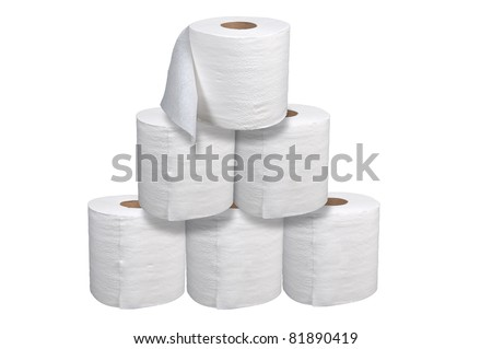 Toilet paper stacked isolated over a white background - stock photo