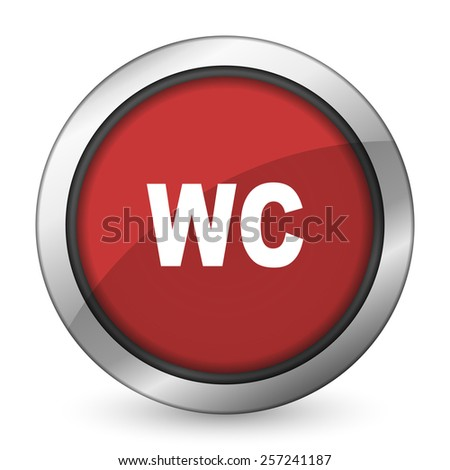 toilet red icon wc sign  - stock photo