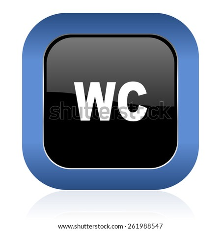 toilet square glossy icon wc sign  - stock photo