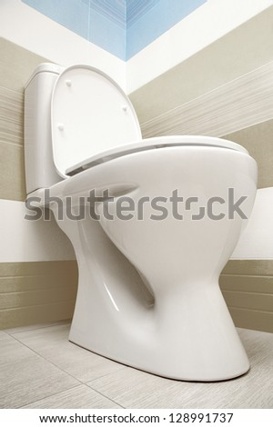 Toilet viewed from below - stock photo
