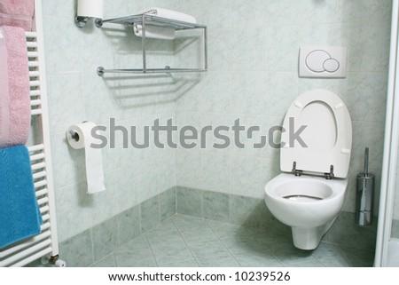Toilet /wc/ in hotel bathroom - stock photo