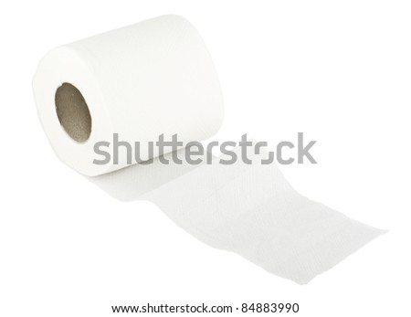 Toilet wc paper roll on white - stock photo