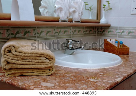 Toiletry in hotel room - stock photo