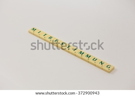Tokens with text - headline, heading - council and the employer, terms in democratic workday - stock photo