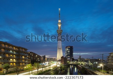 Tokyo - Aug 11 :Tokyo sky tree is the highest free-standing structure in Japan and 2nd in the world. In Summer Sky tree will be illuminate by many colorful LED light on AUG 11,2014 in Tokyo Japan  - stock photo