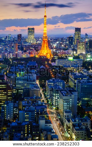Tokyo city at night, Japan  - stock photo