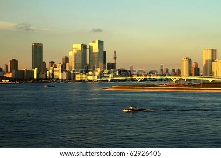 Tokyo city from rainbow bridge - stock photo