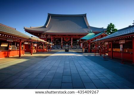 Tokyo City - Sensoji-ji Temple - Asakusa district, Japan, Asia. Tokyo historic architecture. Tokyo City center. Tokyo historic center. Tokyo temple. - stock photo