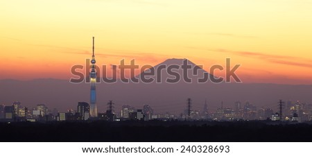 Tokyo city view and Tokyo sky tree with Mountain fuji in evening - stock photo