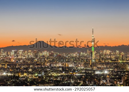 Tokyo city view with Tokyo skytree and mountain fuji - stock photo