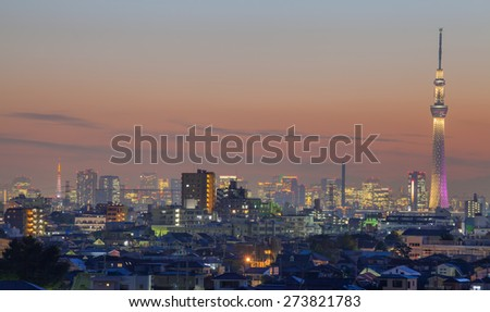 Tokyo city view with two Tokyo landmark Tokyo skytree and Tokyo Tower at night - stock photo