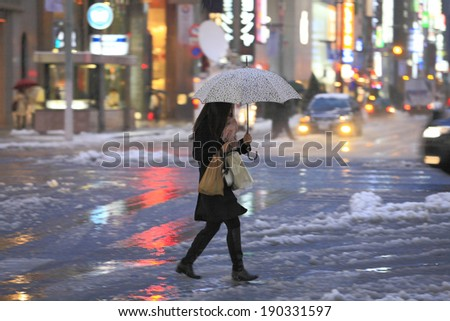 Tokyo downtown snow scene - stock photo