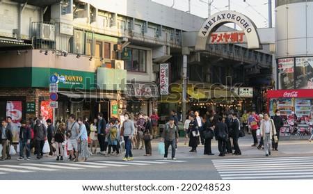 TOKYO JAPAN - APRIL 15 : Ameyoko Market in Ueno district taken April 15, 2014 in Tokyo, Japan. - stock photo