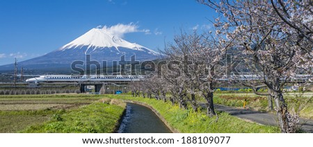 TOKYO, JAPAN-April 7: Shinkansen Tokaido line from Tokyo, Japan on Apr 7, 2014. Japan's main islands, are served by a network of high speed train lines that connect Tokyo with most of the major cities - stock photo