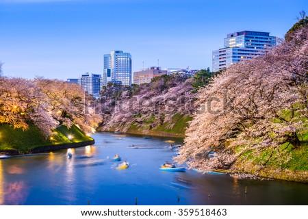 Tokyo, Japan at Chidorigafuchi Imperial Palace moat during the spring season. - stock photo