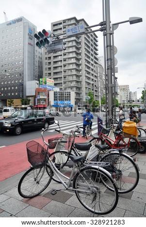 TOKYO, JAPAN - August 18, 2015 : Bicycles in Tokyo, Japan.  - stock photo