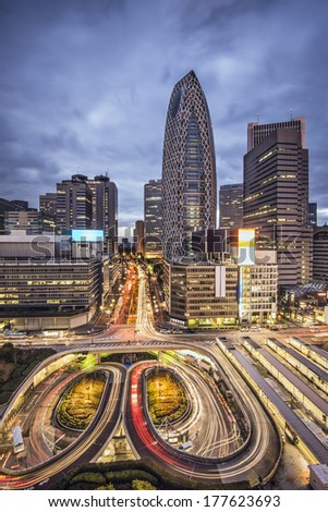 Tokyo, Japan cityscape at Shinjuku skyscraper district. - stock photo