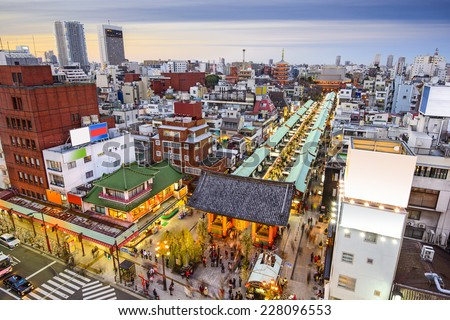 Tokyo, Japan cityscape over Asakusa district and Senso-ji Temple. - stock photo