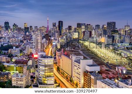 Tokyo, Japan cityscape towards Tokyo Tower. - stock photo