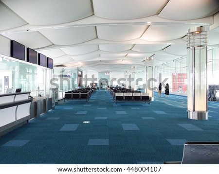 TOKYO, JAPAN - JULY 2, 2016 : Photo of Gate 144, at Haneda Airport, International Terminal. Tokyo Haneda International Airport is 1 of the 2 primary airports that serve the Greater Tokyo Area in Japan - stock photo