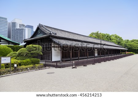 TOKYO, JAPAN - JUNE 1, 2016: Entrance of Kyuden Totei Plaza is in front of Chowaden Hall of the Imperial Palace. The Tokyo Imperial Palace is the main residence of the Emperor of Japan - stock photo