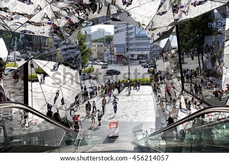TOKYO JAPAN - JUNE 1,2016 :Entrance of Plaza building, Tokyu Plaza Omohara is a fashion theme park department store for the trendiest fashion located in Harajuku Area - stock photo