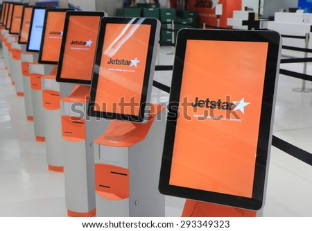 TOKYO JAPAN - JUNE 19, 2015: Jetstar self check counter at Narita airport. Qantas is the parent company of the low cost airline Jetstar   - stock photo