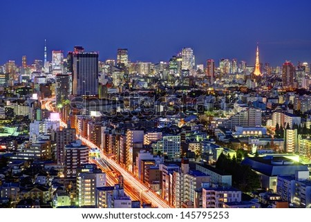 Tokyo, Japan landmark structures viewed from an Ebisu skyscraper. - stock photo