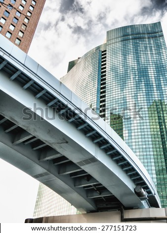 TOKYO, JAPAN - MARCH 21: Shiodome on March 21, 2015 in Tokyo, Japan. Shiodome is one of the principal financial districts of Tokyo. - stock photo