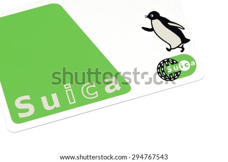 Tokyo, Japan- MAY 5, 2015: The Suica is a prepaid e-money card for moving around and shopping. The Suica can be used not only for JR East trains, but subways and buses as well. - stock photo